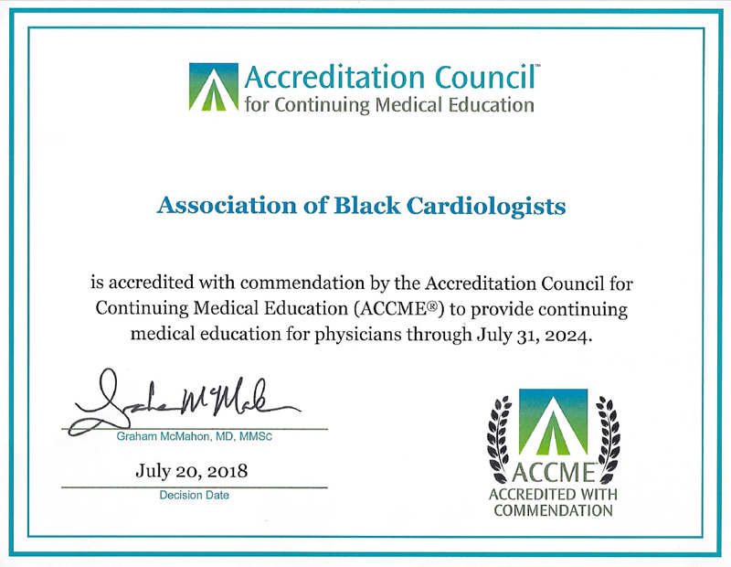ACCME Accredited with Commendation Certificate through 2018-2024